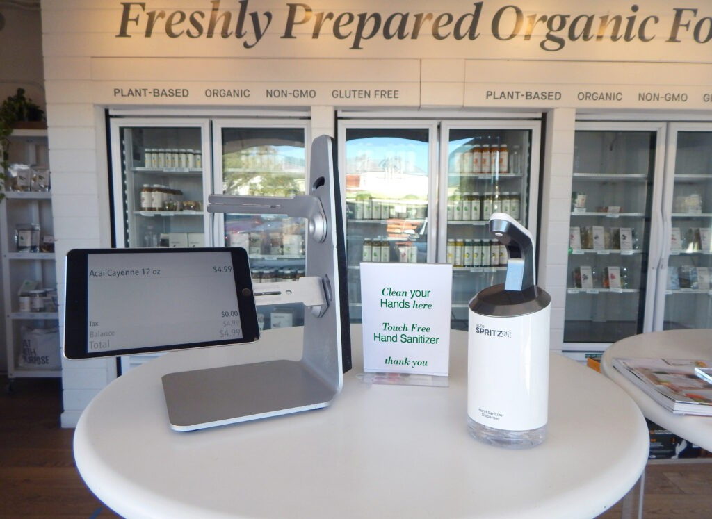 Juice Bar hand sanitizer station